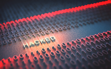 hacked: 3D illustration of binary code interrupted by the word Hacked