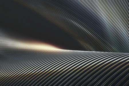 추상 3D 일러스트 레이 션, 구조 트위스트 및 크롬 및 반사에 접혀.