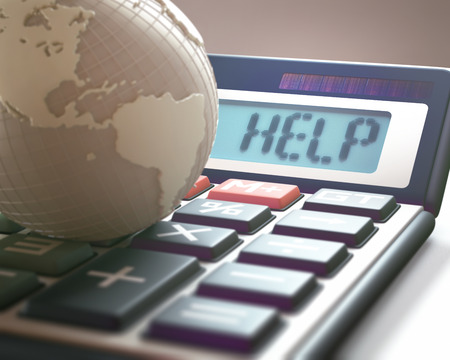 global finance: Calculator with the word HELP on the display, representing world financial crisis. 3D illustration, concept image of Global World Business and Finance. Stock Photo