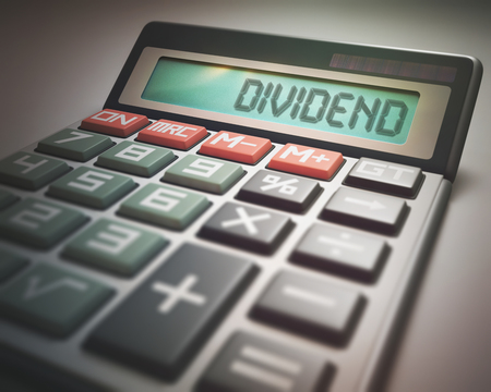 dividend: Solar calculator with the word DIVIDEND on the display. 3D illustration, concept image of Business and Finance. Stock Photo