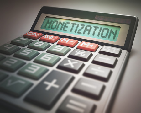 monetization: Solar calculator with the word MONETIZATION on the display. 3D illustration, concept image of Business and Finance.