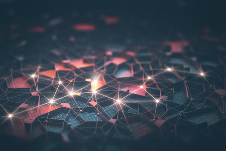 Künstliche Intelligenz, Verbindungen und Kern in Konzept von miteinander verbundenen Neuronen. Zusammenfassung Hintergrund mit binären Zahlen, neuronales Netzwerk und Cloud Computing.