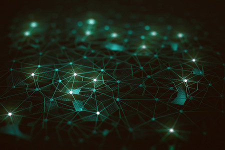 Artificial intelligence, connections and nucleus in concept of interconnected neurons. Abstract background with binary numbers, neural network and cloud computing. Standard-Bild