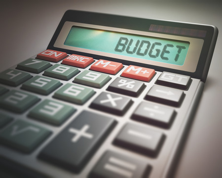 budget: Solar calculator with the word BUDGET on the display. 3D illustration, concept image of Business and Finance. Stock Photo