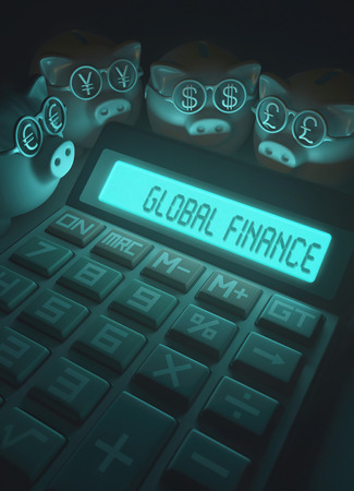 global finance: 3D illustration, concept of finance and business. Piggy Bank with glasses with sign of money, euro, yen, dollar and pound.