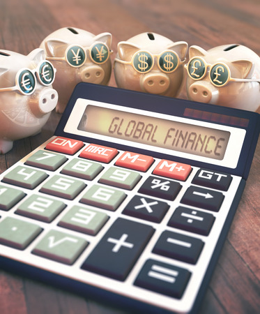 business finance: 3D illustration, concept of finance and business. Piggy Bank with glasses with sign of money, euro, yen, dollar and pound.