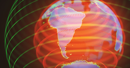3D illustration. Hologram of planet earth in warm colors. South America in focus. Stock Photo