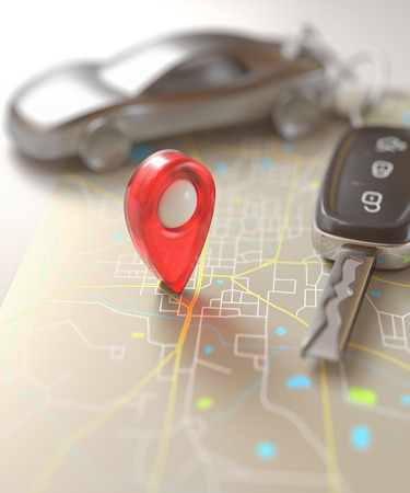 localization: Car key on the map with local points of travel.