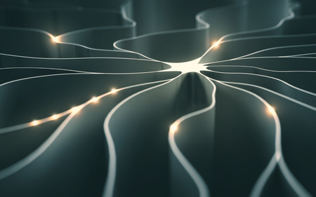 synaptic: 3D illustration, concept of artificial neuron with electrical pulses.