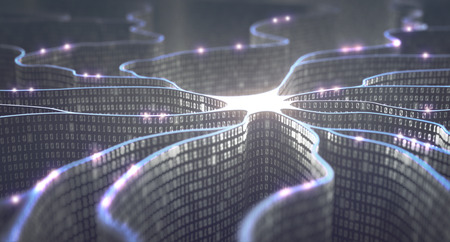 Artificial neuron in concept of artificial intelligence. Wall-shaped binary codes make transmission lines of pulses and/or information in an analogy to a microchip. Neural network and data transmission. Stockfoto