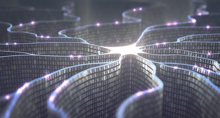 neurona artificial en concepto de inteligencia artificial. códigos binarios en forma de pared hacen que las líneas de transmisión de impulsos y / o información en una analogía con un microchip. red neuronal y la transmisión de datos. Foto de archivo