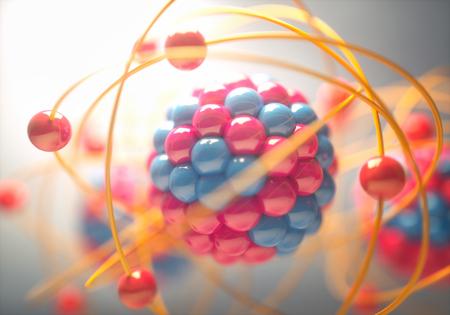 Illustration 3D d'un atome, qui est la plus petite unité constitutive de la matière ordinaire ayant les propriétés d'un élément chimique.