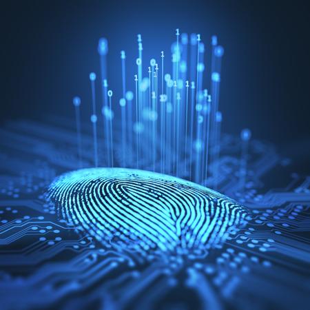 3 D イラスト。指紋は、プリント回路、バイナリ コードをリリースに統合。