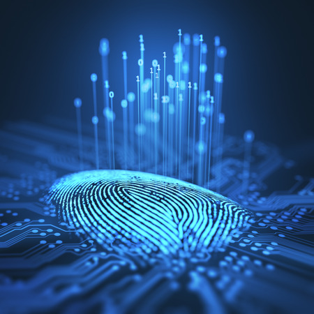 3D illustration. Fingerprint integrated in a printed circuit, releasing binary codes. Imagens - 71623281