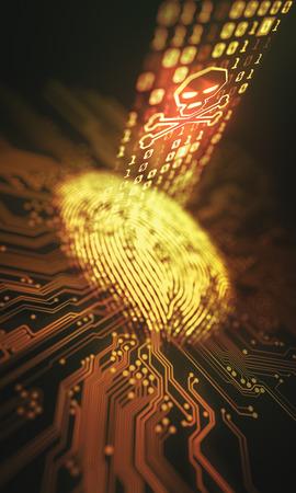 3D Abbildung. Sicherheitsverletzung und Zugang zu persönlichen Daten durch den Fingerabdruck. Standard-Bild - 71800691