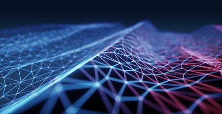 3D 그림, 컨셉 이미지. 클라우드 컴퓨팅, 인터넷 연결을 나타내는 양각 메쉬. 스톡 콘텐츠