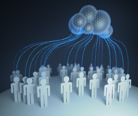 People of the world interconected through the shared computer processing resources and data to computers, cloud computing. 3D illustration.