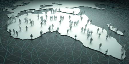 mundi: Africa Population. 3D illustration of people on the map, representing the countrys demography.