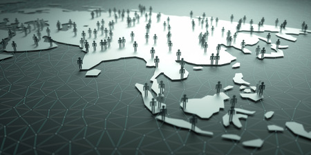 china business: Asia Population. 3D illustration of people on the map, representing the countrys demography. Stock Photo