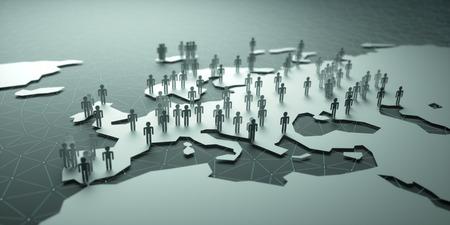 demografia: Europa Población. Ilustración 3D de personas en el mapa, lo que representa la demografía del país. Foto de archivo