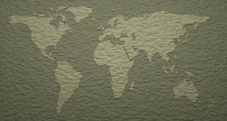 mundi: 3D illustration. World map with embossed details.