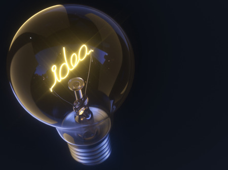 idea lamp: 3D illustration. Lamp with filament in the form of the word idea. Stock Photo
