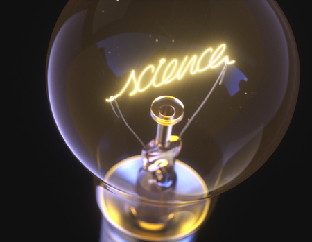 3D illustration. Lamp with filament in the form of the word science.