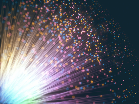 Colored optical fiber with depth-of-field effect and bokeh effect. Archivio Fotografico