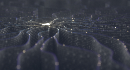Artificial neuron in concept of artificial intelligence. Wall-shaped binary codes make transmission lines of pulses and/or information in an analogy to a microchip. Neural network and data transmission. Standard-Bild