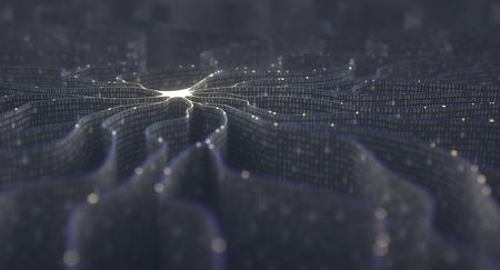 Künstliche Neuron in Konzept der künstlichen Intelligenz. Wandförmigen Binärcodes bilden Übertragungsleitungen von Impulsen und / oder Informationen in Analogie zu einem Mikrochip. Neuronales Netzwerk und Datenübertragung.