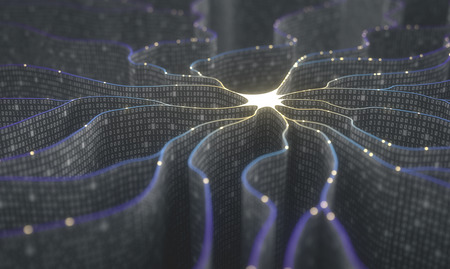 Artificial neuron in concept of artificial intelligence. Wall-shaped binary codes make transmission lines of pulses and/or information in an analogy to a microchip. Neural network and data transmission. Banque d'images