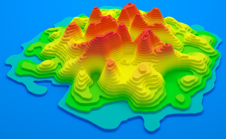 terrain: 3D illustration. Topographical map of an island. Elevation in colors from blue to red.