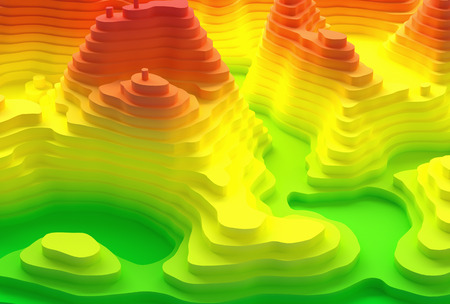 tints: 3D illustration. Topographical map of an island. Elevation in colors from blue to red.