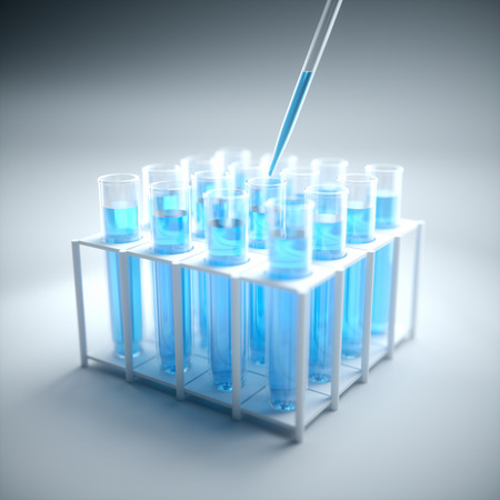droppers: 3D illustration. Test tubes filled with blue chemistry, science concept and laboratory. Foto de archivo