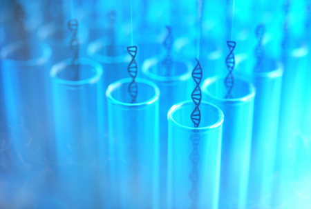 chromosomal: 3D illustration. Several dna being withdrawn from the test tubes. Concept image of genetic cloning. Stock Photo