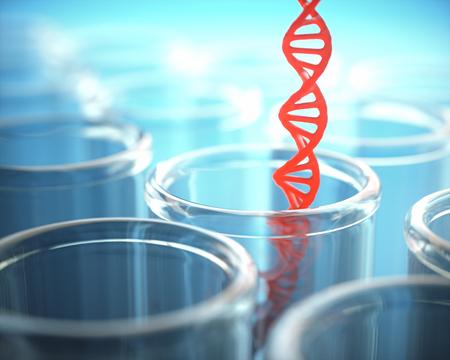 chromosomal: 3D illustration. Red dna inside the test tube.