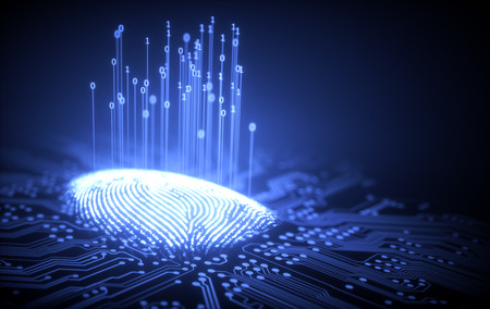 3D illustration. Fingerprint integrated in a printed circuit, releasing binary codes.