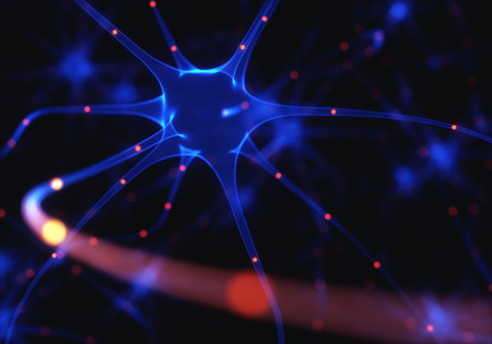 synaptic: 3D illustration of Interconnected neurons with electrical pulses.