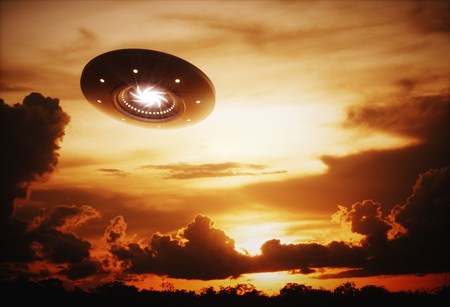 other space: 3D illustration with photography. Alien spaceship under the sunset.