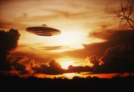 roswell: 3D illustration with photography. Alien spaceship under the sunset.