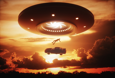 roswell: 3D illustration. Man and his car floating to inside of alien ship. Concept of alien abduction.