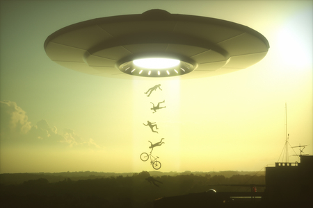 roswell: 3D illustration. Concept of alien abduction. People levitating into the alien ship. Stock Photo