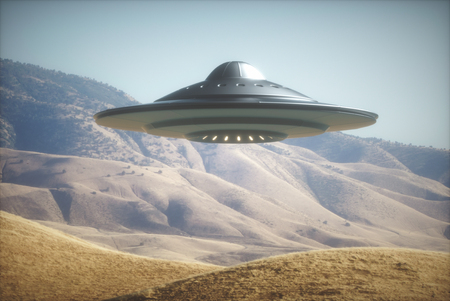 roswell: 3D illustration with photography. Alien spaceship flying among the mountains.