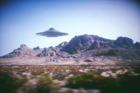 ufology: 3D illustration with photography. Alien spaceship flying with panning effect.