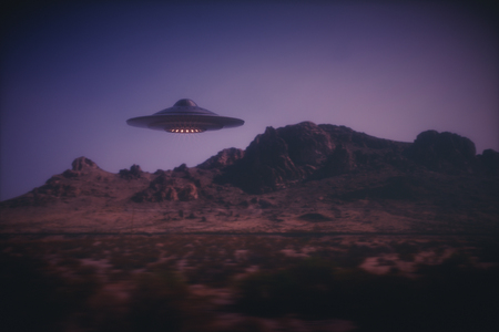 사진과 함께 3D 그림입니다. 외계인 우주선 패닝 효과와 비행입니다. 스톡 콘텐츠 - 77194896
