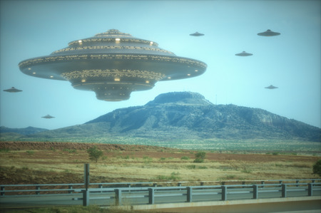 roswell: 3D illustration with photography. Alien invasion of spaceships.