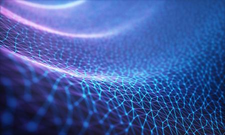 3 D イラスト、エンボス メッシュ表すインターネット接続、クラウド コンピューティングおよびニューラル ネットワークです。 写真素材