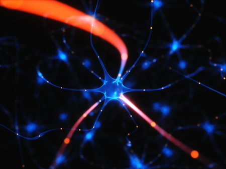 pulses: 3D illustration of Interconnected neurons with electrical pulses.