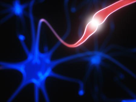 cognicion: Ilustración 3D de neuronas interconectadas con impulsos eléctricos.