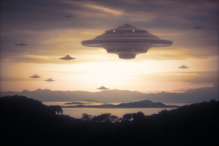 ufology: 3D illustration with photography. Alien invasion of spaceships.